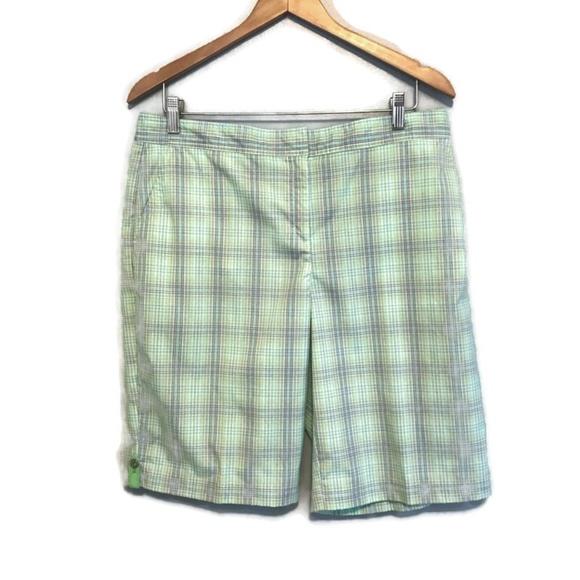 Izod Pants - Izod Cool-FX PerformX Green Plaid Golf Shorts